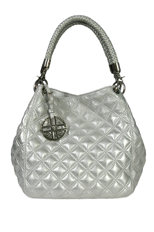 Silvio Tossi Patent Leather Quilted Shoulder Bag With Keychain.